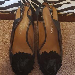 Size 8M, wedge heel, black upper leather shoe